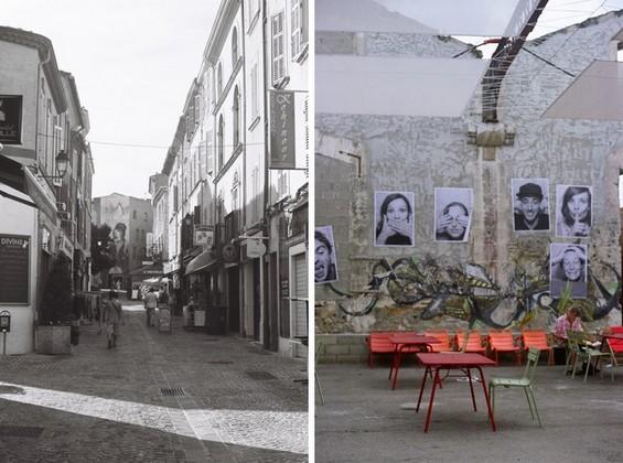 Salon de Provence à gauche, Arles à droite.