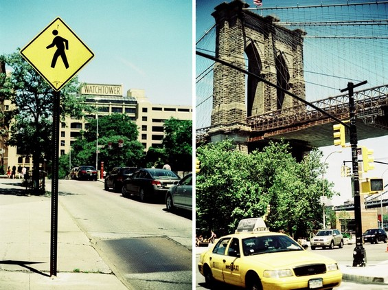 Yellow cab and Brooklyn Bridge