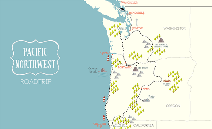 Pacific Northwest road trip map